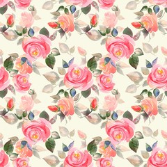 Background with beautiful roses. Seamless pattern with hand-drawn flowers 3