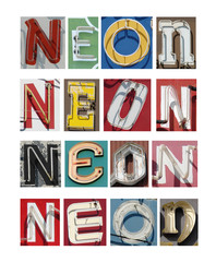 collection of aged and worn vintage neon letters spelling word neon