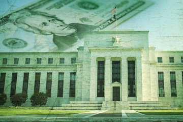 Federal Reserve building with twenty dollar bill on grunge textu
