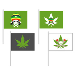 Smoking drugs flag. Rasta Hat skull. Cannabis leaf. Vector illus