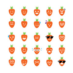Collection of difference emoticon icon of carrot on the white ba