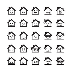 Collection of difference emoticon icon of home icon on the white