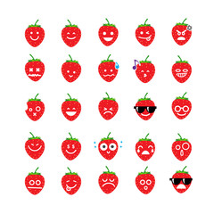Collection of difference emoticon icon of strawberry on the whit