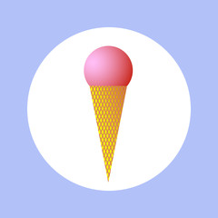 Icon round pink ice cream in circle. sign of ice cream for your design