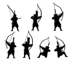 Samurai-archers silhouette set