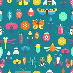 Poster de jardin Oiseaux, Abeilles Vector Pattern