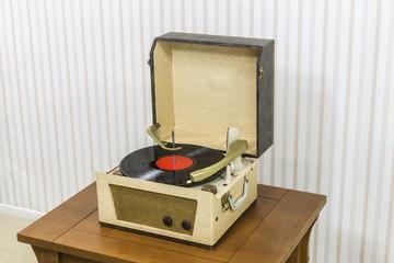 Vintage Record Player with Vinyl Album