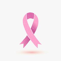 Vector hand drawn pink ribbon - breast cancer awareness symbol
