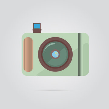 Camera Icon With Shadow And Flash For Brochures And Web Templates Design 3