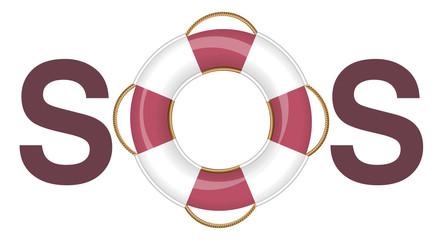 SOS Lifebuoy - isolated vector illustration on white background.