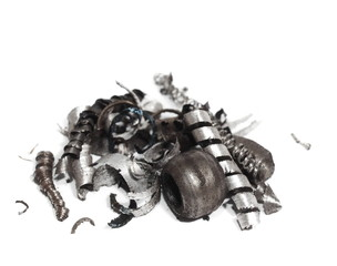 pile scrap metal shavings isolated on white