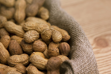 A big burlap sack of peanuts.