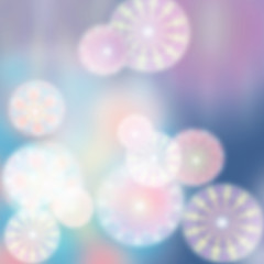 Abstract background with round transparent blurred shapes overlapping, creating bright colorful shades of blue, turquoise, light pink, lavender and white.