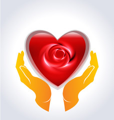 Valentines heart rose flower hands logo icon vector background template