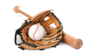 Leather glove with baseball and bat on white