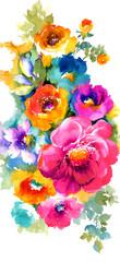 화려한 수채화 꽃무리