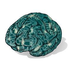 Electronics Brain on transparent Background