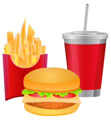 Burger meal fries and softdrink vector image