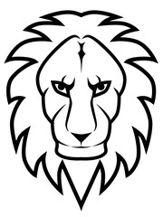 Lion head line art vector image