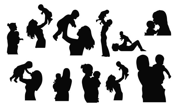 mom and Baby silhouette set vector