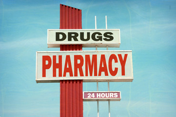 aged and worn vintage photo of pharmacy sign