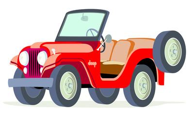 Caricatura Willys Jeep CJ5 rojo abierto vista frontal y lateral