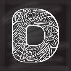 Zendoodle chalk style letter D