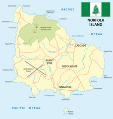 norfolk island map with flag