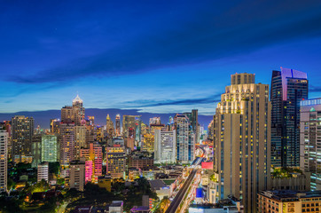 The Night city of bangkok Thailand