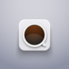 Realistic Coffee Cup Icon for Web or Application.