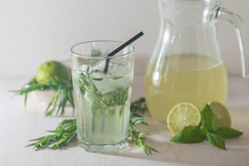 homemade lemonade from lime and tarragon