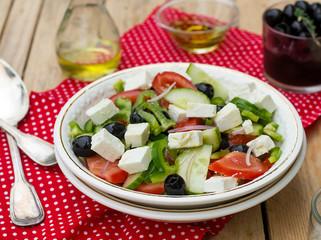 Greek salad bulgarian salad with summer vegetables, olives and f