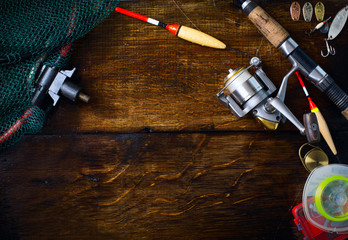 art sports fishing rod and tackle background