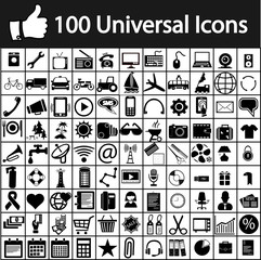 the hundred vector universal icons suitable for any website