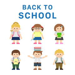 Cute Child Characters Back to School Scene