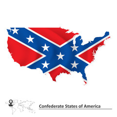 Flag of Confederate states of America with USA map