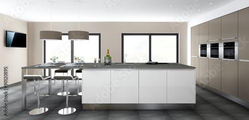 Cuisine 05 grand ilot blanc et mur d 39 armoires photo for Verriere cuisine tarif