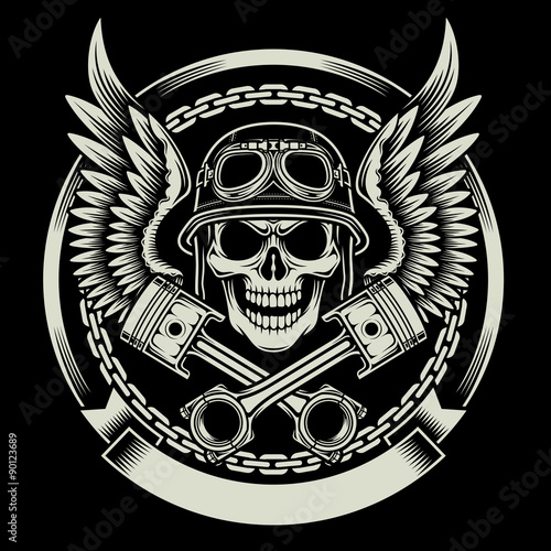 cef0176400980 Vintage Biker Skull With Crossed Piston Emblem