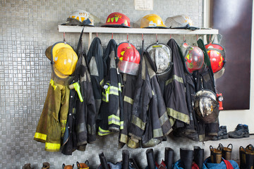 Firefighter Uniforms Arranged At Fire Station