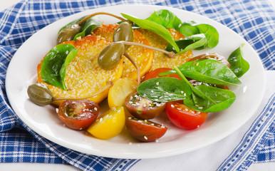 Halloumi cheese  and fresh salad.