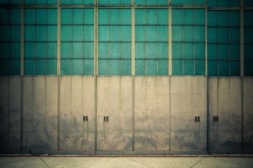 Industrial doors on old airplane hangar