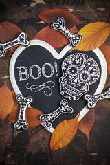 Homemade skull and bone cookies for Halloween