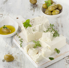 Feta with green olives