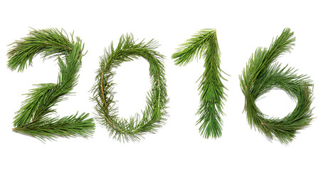 Number two thousand sixteen / New year 2016. Numbers are made of a pine branches