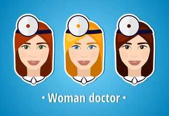Set of vector illustrations of a woman doctor. Doctor. The girl's face. Icon. Flat icon. Minimalism. The stylized girl. Occupation. Job. Uniforms, cap.