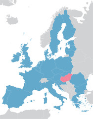 Europe and European Union map with indication of Hungary