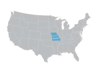 vector map of United States with indication of Missouri