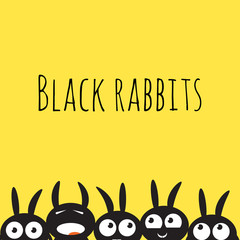 Vector card with cute cartoon black rabbits on a yellow background.