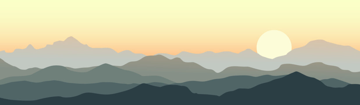 Beautiful sunset in the mountains. Vector landscape.