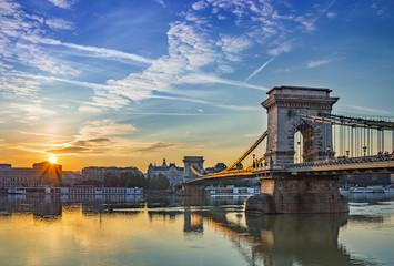 Printed kitchen splashbacks Budapest sunrise at Budapest city and Chain Bridge - Budapest - Hungary
